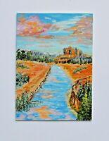 Aceo original art card, landscape miniature artwork, 3.5x2.5 river valley