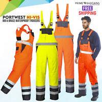 Portwest Contrast Hi-Vis Bib Brace Waterproof Dungarees Breathable Trousers S488