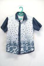 Juishden Juniors Blue White Bird Button Up Shirt Size Medium