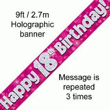 Happy 18th Birthday Hearts Banner 270 Cm Long Repeats 3 Times Holographic Pink