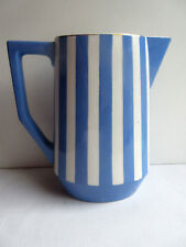 French blue and white ceramic MILK JUG signed Sarreguemines model Fox Trott 1/5