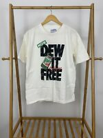VTG All Sport 90s Mountain Dew Caffeine Free Single Stitch White T-Shirt Size L