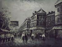 Paris Street Large Oil Painting Canvas Cityscape France Original Arch De Triumph