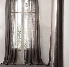 Restoration Hardware Open Weave Sheer Linen Drapery Mocha 50x120 Curtain Panel