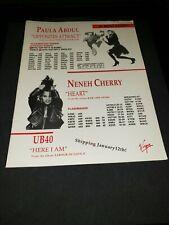 Paula Abdul/Neneh Cherry/Ub40 Rare Original Radio Promo Poster Ad Framed!