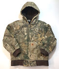 Carhartt Youth M Real Tree Camo Jacket Blanket Lined Hooded Winter Coat Hunting