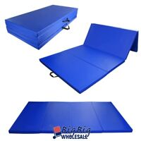 "Blue 4'x8'x2"" Folding Gymnastics Mat Workout Fitness Yoga Stretching Tumble Mat"