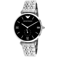 EMPORIO ARMANI AR1676 Retro Black Dial Silver Stainless Steel Men's Wrist Watch
