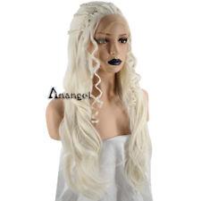 Anogol Daenerys Targaryen Cosplay Wig Blonde Lace Front Wigs Long Synthetic Hair