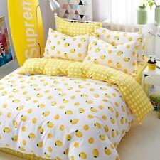 Lemon Printing 100% Cotton Bedding Set Duvet Cover+Sheet+Pillow Case Four-Piece