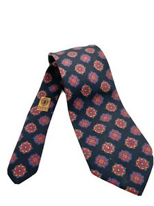 GUCCI Men's Silk Neck Tie - Geometric Pattern Blue, Red, Gold - Italy Vintage
