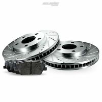 Rear Cross-Drilled Slotted Brake Rotors Disc and Ceramic Pads For Aurora,DeVille