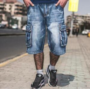 Men's Pockets Denim Cargo Pants Relaxed Hip Hop Loose Jeans Short Pants Trousers