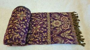 New Purple Color Floral Shawl Reversible Soft SCARF, UNISEX, BLANKET XMAS GIFT
