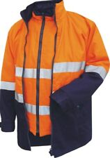 CAN`T TEAR EM 4in1, Or/Navy Hi-Vis Cotton Drill Jacket Size S, 3M Reflect Tape