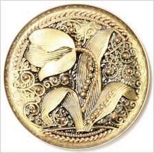 (1) 33mm vintage Czech lacy style gilt gold mirrored tulip floral glass button