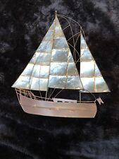Hand Crafted Mid-Century Capiz Shell and Copper Sailboat