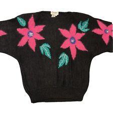 Vintage 80s Knit Dolman Sleeve Sweater Size L Black Pink Teal (Kb-102)