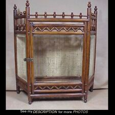 Great Antique Oak Ball & Stick Tabletop Wall Curio China Cabinet Beveled Glass