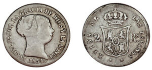 2 SILVER REALES ISABELLA II - 2 REALES PLATA ISABEL II. MADRID 1854. VF- / MBC-