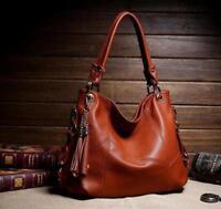 2019 Women's Casual Tassel Handbags Genuine Leather Shoulder Crossbody Bag Tote