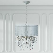 5-Light Silver Crystal Chandelier with Drum Shade, Plug In Lighting Fixture Lamp