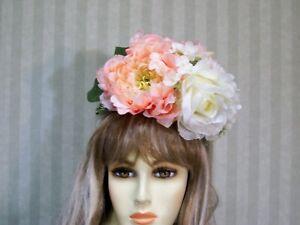 Peach Bridal Flower Head Piece Crown Belmont Floral Headband Hat Pinup Girl Hat