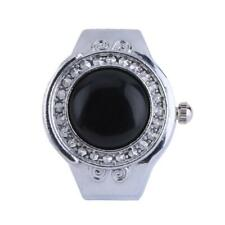 Charm Electronic Quartz Agate Round Elastic Finger Ring Watch Women Jewelry Gift