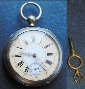 Alte Taschenuhr Schlüsselaufzug Ziffernblatt farbig 4,7cm Reparatur Ersatzteile