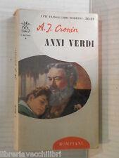 ANNI VERDI A J Cronin Bompiani I delfini 30 31 1968 libro romanzo narrativa di