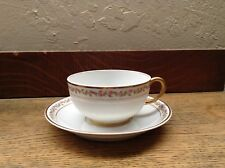 JPL Limoges France Pink Rosettes Gold Trim Cup And Saucer J. Pouyat