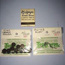 Lionel V-45 Carbon Roller & Rivet Bulk Pack/ 10 rollers & rivets/ $6.00