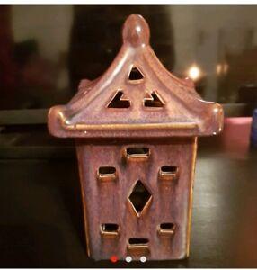Japanese inspired brown ceramic candleholder