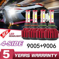 4x 9006+9005 4-Side LED Headlight 200W 30000LM Hi-Lo Beam Combo Kit 6000K Lamp ~