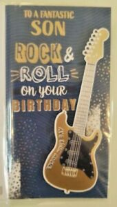 SON BIRTHDAY CARD ROCK AND ROLL ON YOUR BIRTHDAY GUITAR MUSIC BAND 23 X 13 CM
