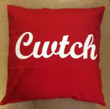 "RED 100% COTTON ""CWTCH"" CUSHION COVER-WALES-FLAG-GIFT-DRAGON-WELSH-RUGBY"