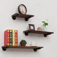 Wood Floating Wall Shelf Bracket Bookcase Flower Stand Storage Rack Shelf Set D