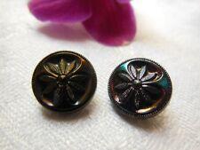 Duo petits boutons anciens en verre fleur marguerite diamètre: 1,2 cm D3D