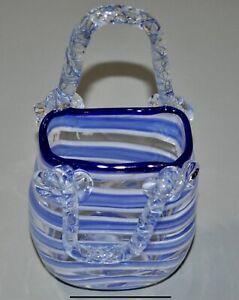 "Vintage Blue And White Stripe Glass Handbag Purse Ornament 7"""