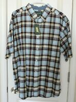 Woolrich Mens Plaid Short Sleeve Button Up Shirt Brown Blue Yellow Sz XL NWT
