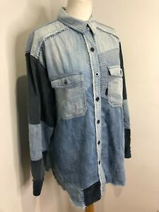 BNNT Free People Palisades Patchwork denim button down shirt Small NEW oversize