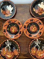 Laurie GATES WARE Plates Halloween pumpkins ghosts ×6 Holiday Salad Desert Bread