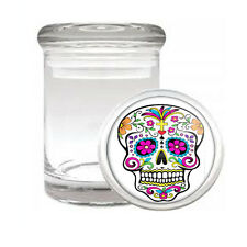 SUGAR SKULL D6 ODORLESS AIR TIGHT MEDICAL GLASS JAR CONTAINER DAY OF THE DEAD