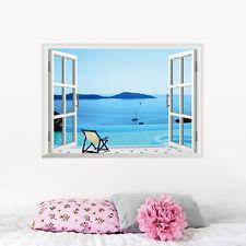 Playa resort 3D Ventana Extraíble Arte Pegatina Pared Vinilo Decoración Mural