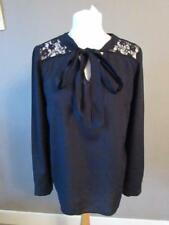 NEXT Ladies Black Long Sleeve Top Blouse Lace Panel Neck Tie Size 12 Immaculate