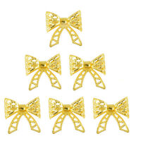 6Pcs Golden Filigree Bow Charms Pendants for DIY Jewelry Making Findings