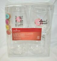 NEW Crofton 4 Pk Plastic Summer Plast Stemless Wine Glasses & Donut Wine Charms