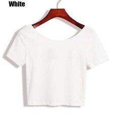 Women Short Sleeve Tank Tops T-Shirt Summer Vest Crop Tops Blouse Casual Tees