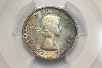 1953 CANADA SILVER 10 CENTS & NO STRAP GRADED MS65 BY PCGS & ATTRACTIVE TONING A