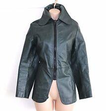 VTG Green 100% Real Leather Fitted Hip Length Ladies Blazer Jacket Coat Sz UK 10